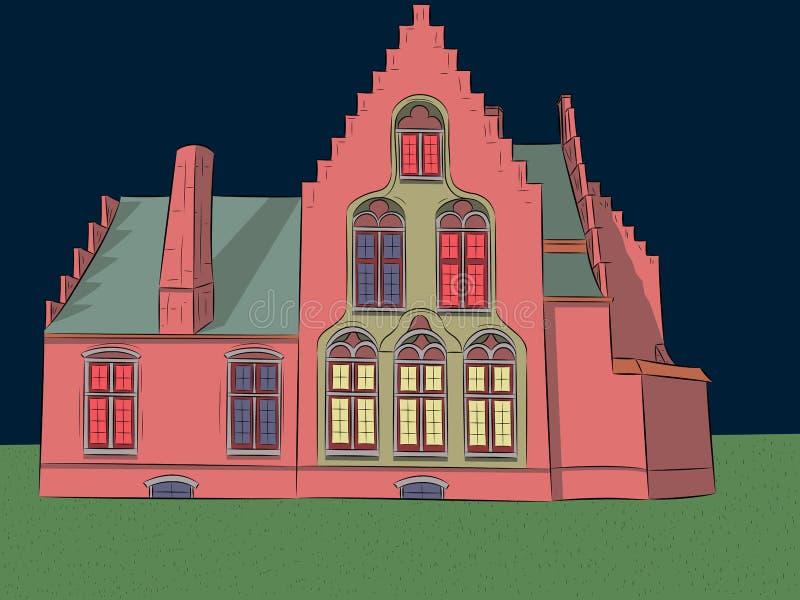 wektor stary dom średniowieczny royalty ilustracja