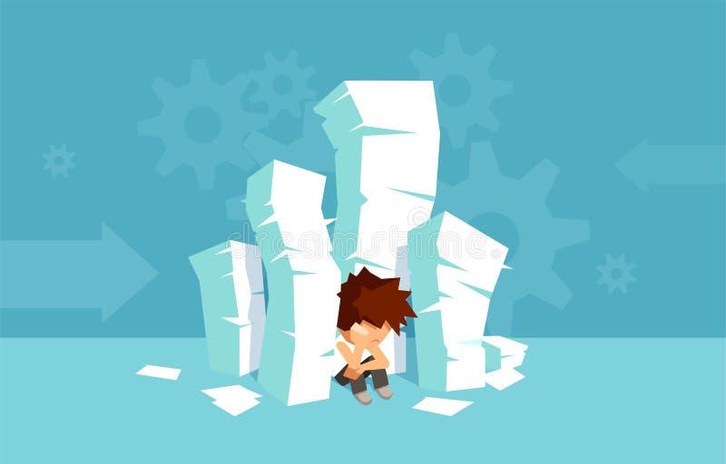 Wektor stos książki i smutny verwhelmed studencki obsiadanie na podłoga royalty ilustracja