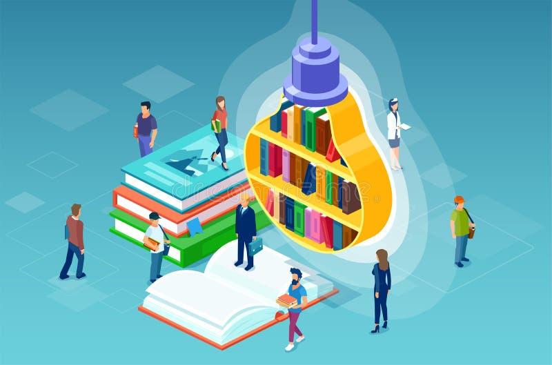 Wektor studiowanie, czytelniczy literatur ludzie różni zajęcia i półka na książki w postaci żarówki, ilustracji