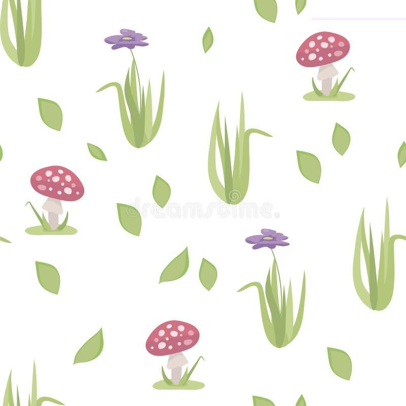 Wektor stylizował kwiecistego bezszwowego wzór z czerwonymi amanita pieczarkami, zieloną trawą i purpura kwiatem odizolowywać na  ilustracji