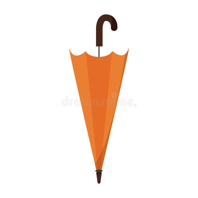 Wektor stylizował zamkniętej, fałdowej parasolowej ikony Płaskiego projekt, ilustracji