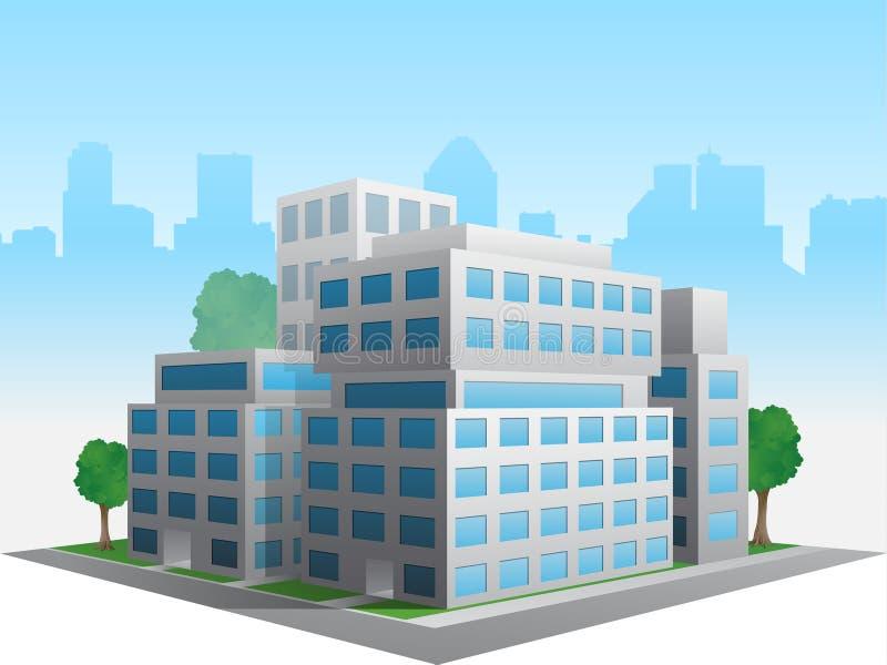 Wektor stylizujący zmieniający rodzajowy korporacyjny nowożytny budynek biurowy ilustracji