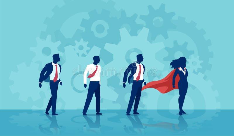 Wektor super bohatera bizneswomanu lider i jej drużyna biznesmeni ilustracji
