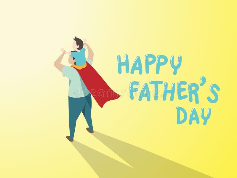 Wektor szczęśliwa ojca dnia kartka z pozdrowieniami Tata w bohatera syna kostiumowej daje przejażdżce na ramieniu z teksta ojca s royalty ilustracja