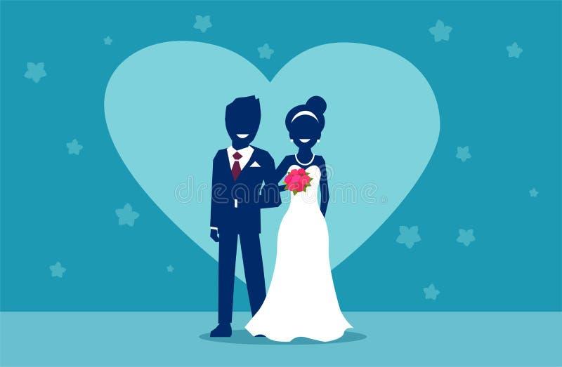 Wektor szczęśliwa para małżeńska w dniu ślubu ilustracji