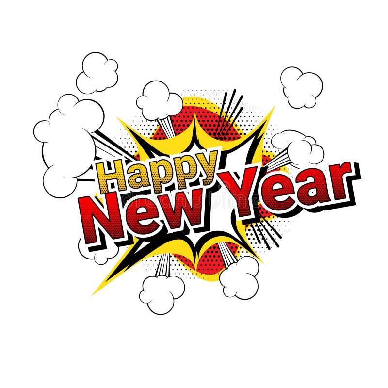 Wektor - szczęśliwi nowego roku komiksu stylu słowa odizolowywający na białym tle ilustracji