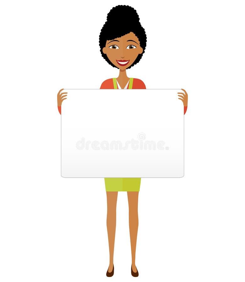 Wektor - Szczęśliwy amerykanin afrykańskiego pochodzenia biznesowej kobiety mienia znak lub sztandar odizolowywający na białym tl obrazy royalty free