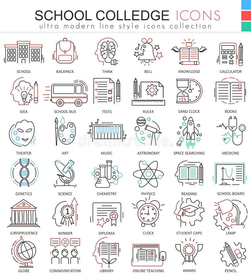Wektor szkoła i colledge konturu linii ultra nowożytne ikony dla apps i sieć projekta Szkolni sybols dla app i sieci ilustracja wektor