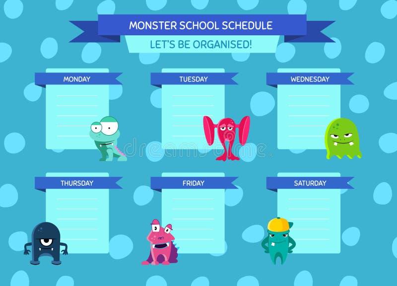 Wektor szkoły rozkład z faborkami, kreskówka potwory na okręgu tle ilustracji