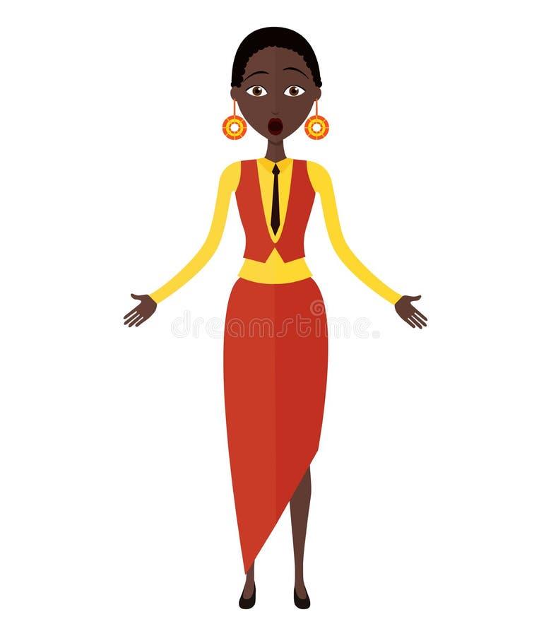 Wektor - Szokująca Afrykańska młoda kobieta obraz stock