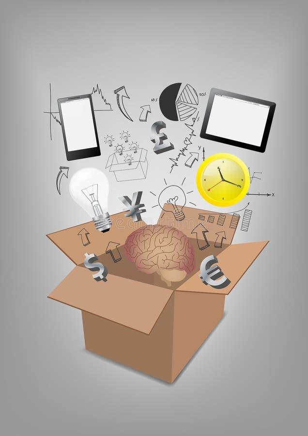 Wektor technologii komunikacyjnej otwarty pudełkowaty biznes  ilustracja wektor
