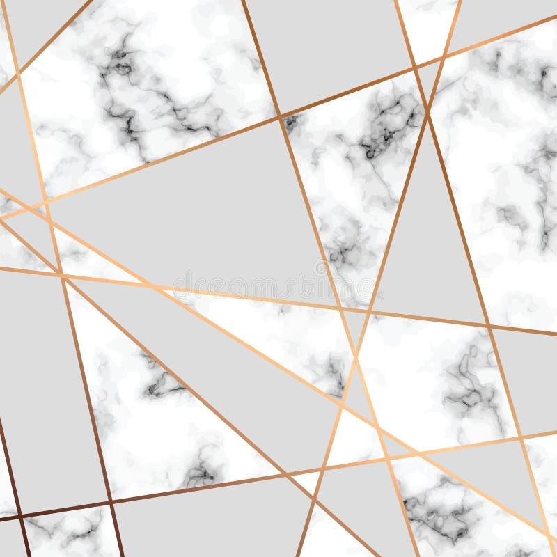 Wektor tekstury marmurowy projekt z złotymi geometrycznymi liniami royalty ilustracja