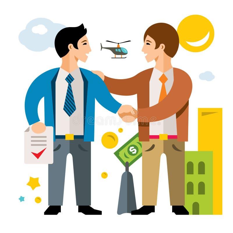 Wektor transakcja, partnerstwo, zgoda Biznes Mieszkanie kreskówki stylowa kolorowa ilustracja ilustracja wektor