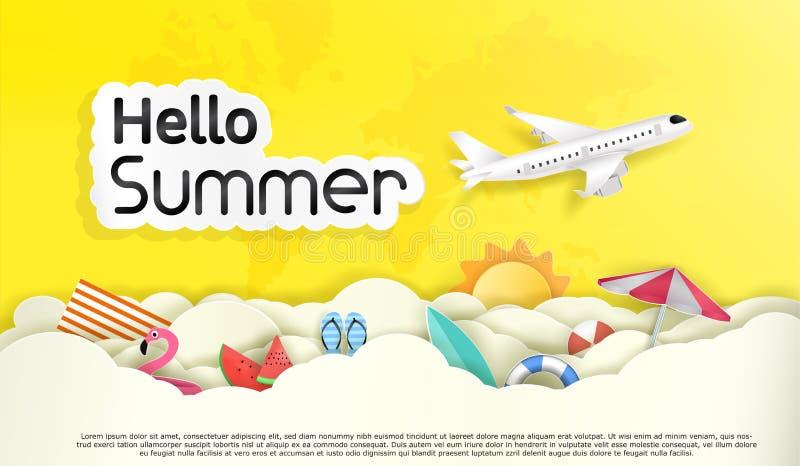 Wektor turystyka I lato Cześć i niebo z dużo chmurnieje royalty ilustracja