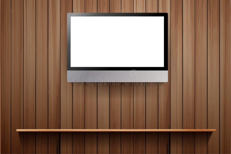 Wektor tv na drewnianej ścianie royalty ilustracja