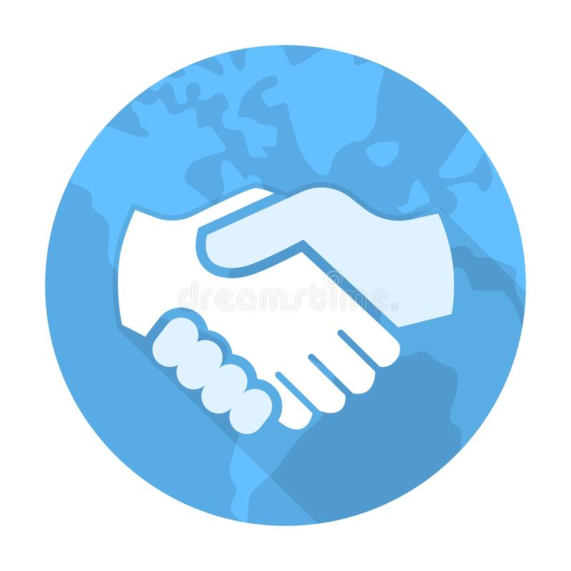 Wektor uścisk dłoni ikona na błękitnym kula ziemska okręgu - wektorowy ikonowy projekt ilustracja wektor
