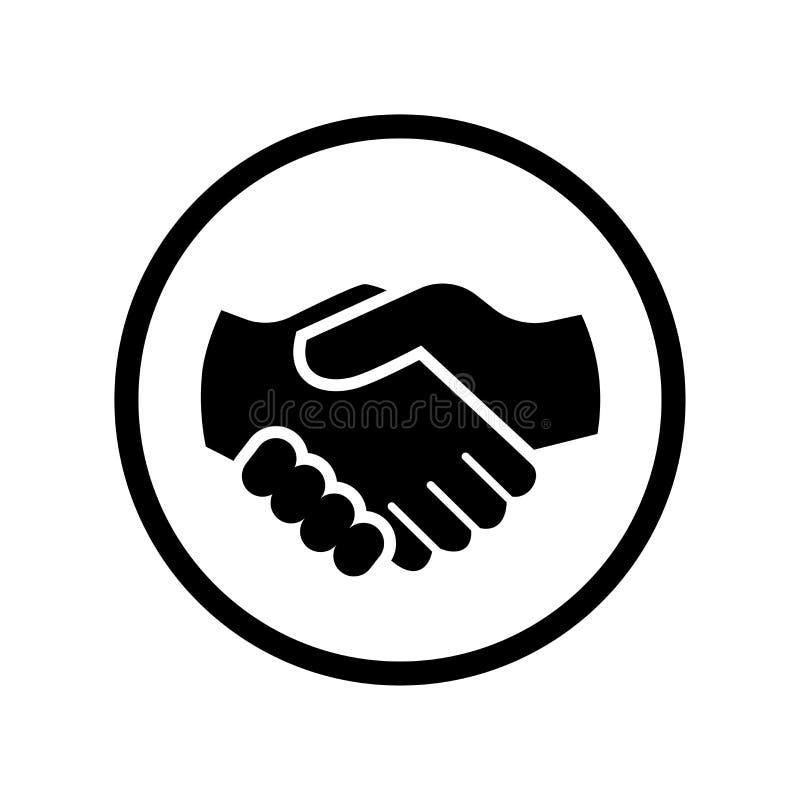 Wektor uścisk dłoni ikona w okrąg linii - wektorowy ikonowy projekt ilustracji