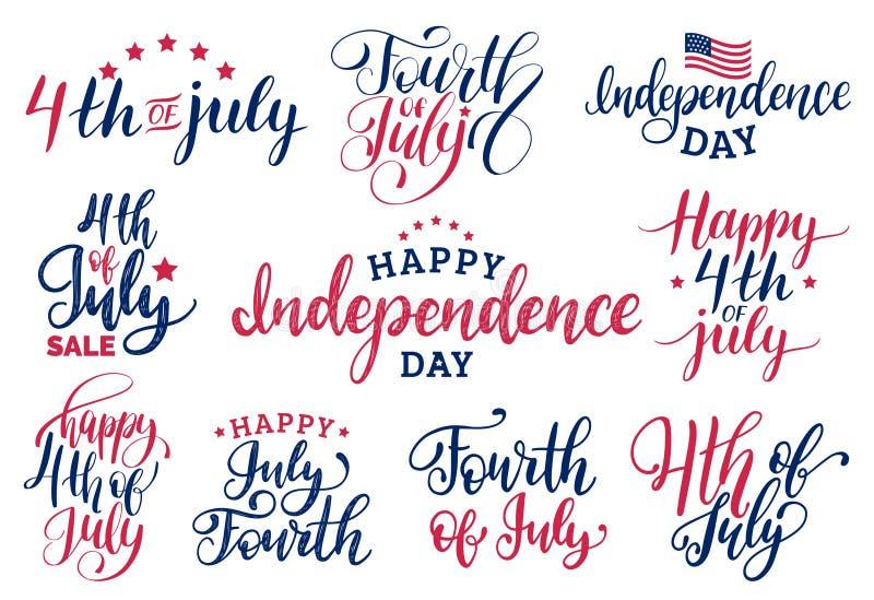 Wektor ustawia czwarty Lipiec ręki literowania inskrypcje dla kartka z pozdrowieniami etc Szczęśliwa dzień niepodległości kaligra ilustracji