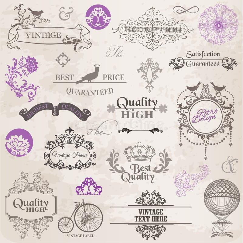 Wektor Ustawiający: Kaligraficzni projektów elementy i strony dekoracja ilustracja wektor