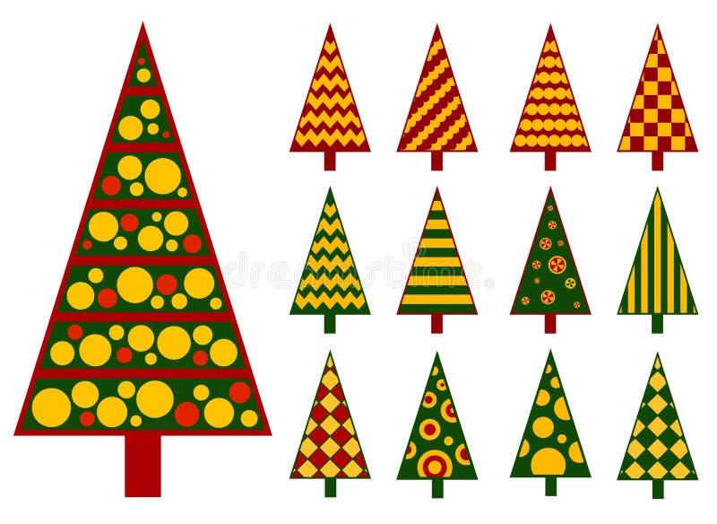 Wektor ustawiający odosobnione stylizowane choinki bożych narodzeń Claus kolorów kontury ubierali szczęśliwe ilustracyjne warstwy royalty ilustracja