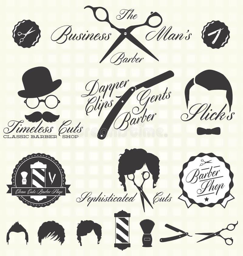 Wektor Ustawiający: Retro fryzjera męskiego sklepu etykietki