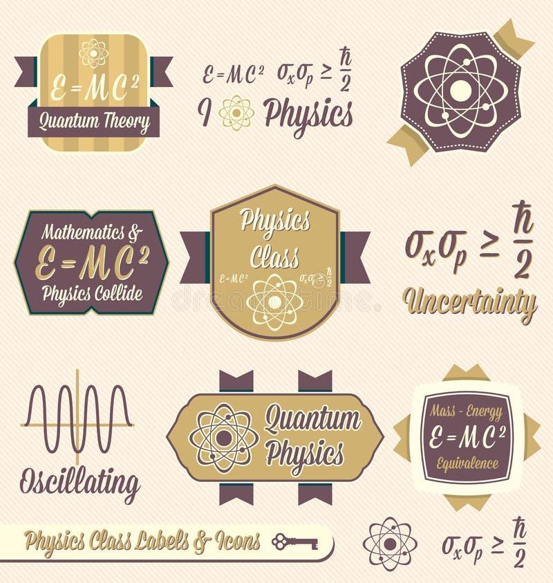 Wektor Ustawiający: Rocznik fizyka klasy etykietki ilustracji