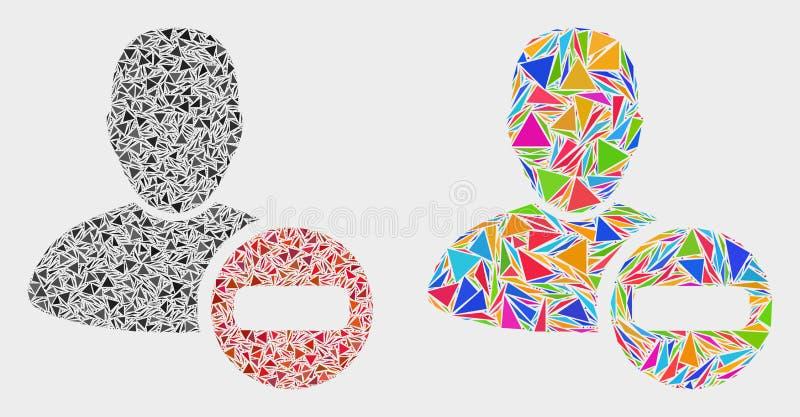 Wektor Usuwa użytkownik mozaiki ikonę trójboki ilustracja wektor