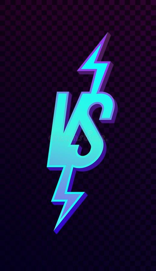 Wektor versus szyldowego neonowego gradientu stylu błękitny kolor ilustracji