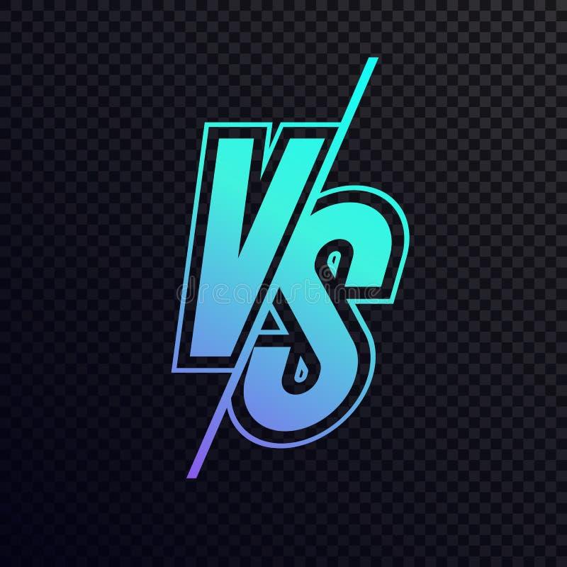Wektor versus szyldowego nowożytnego neonowego gradientu stylu cyan błękitny kolor royalty ilustracja