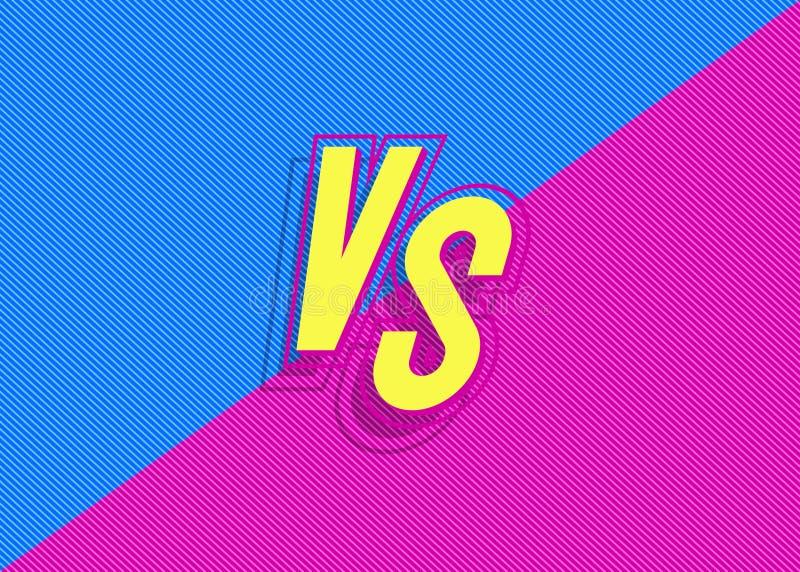 Wektor versus tło vs z szyldowymi nowożytnymi błękit menchiami barwi royalty ilustracja