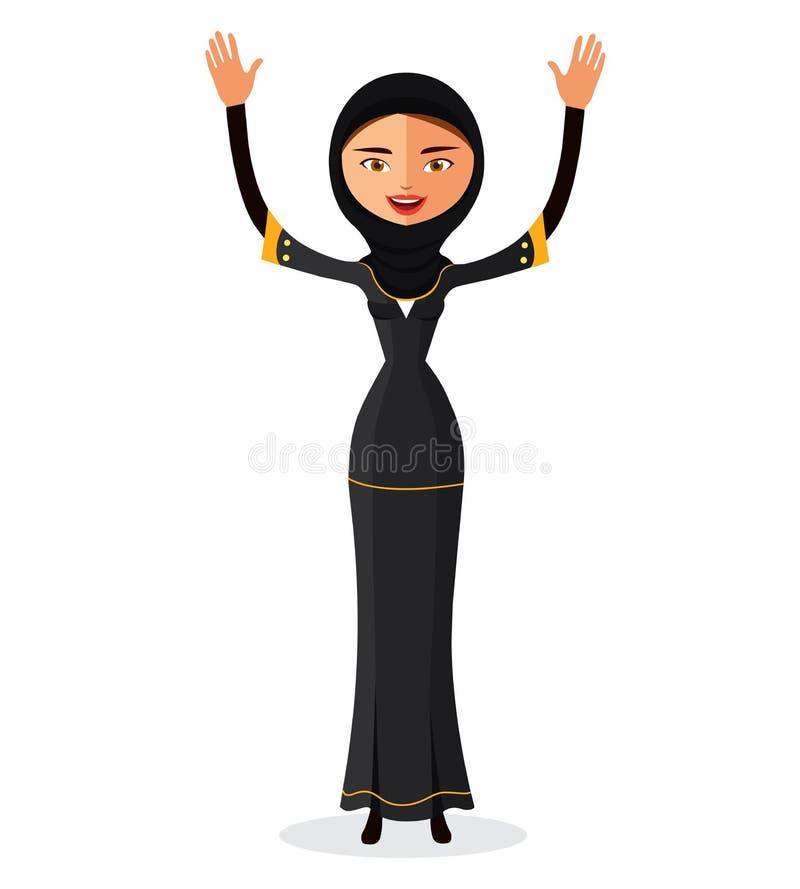 Wektor - wektor - muzułmańska kobieta macha jej rękę w tradycyjnych ubraniach odizolowywających na białym tle ilustracji