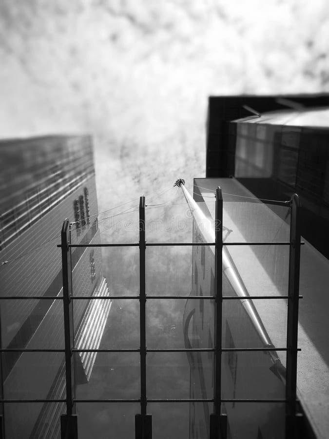 wektor wizerunku miasta architektury Artystyczny spojrzenie w czarny i biały obraz stock