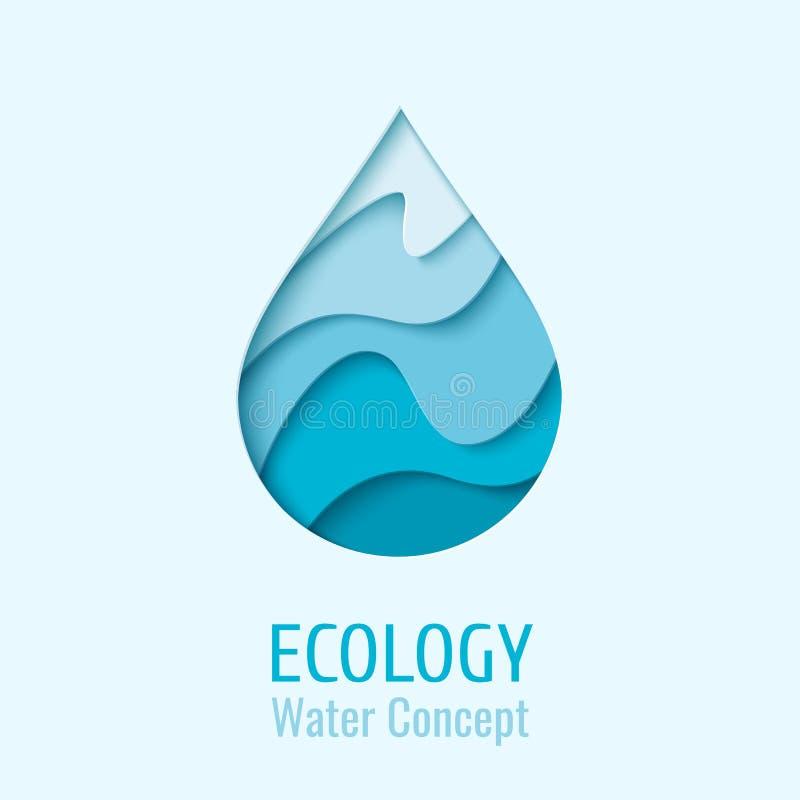 Wektor wody kropli ekologii loga projekta szablon ilustracji