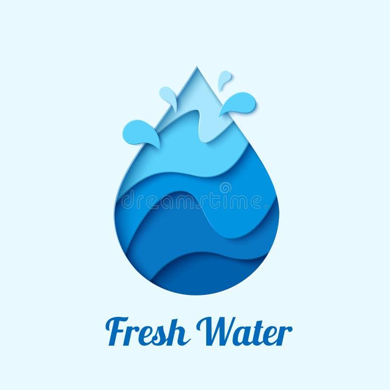 Wektor wody kropli loga projekta szablon royalty ilustracja