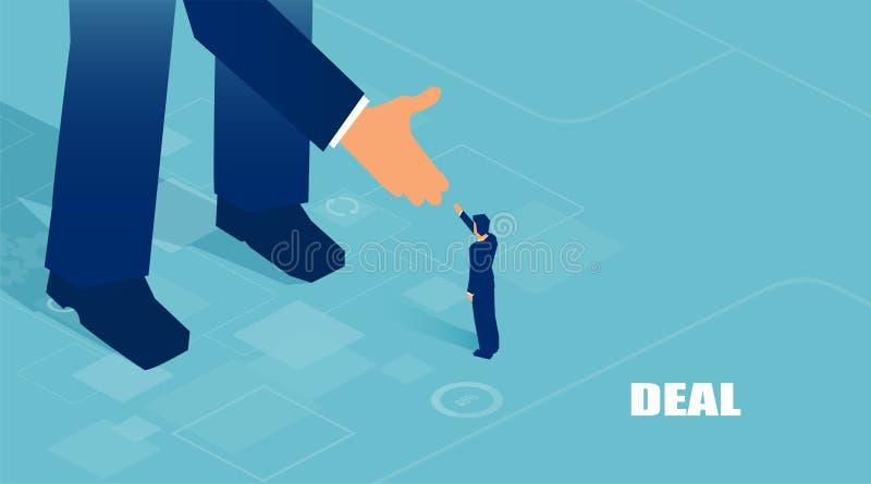 Wektor wspierający niewiadomym dużym inwestorem daje on sposobności małego biznesu mężczyzna ilustracji