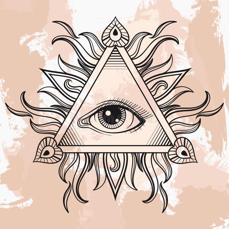 Wektor Wszystkie widzii oko ostrosłupa symbol Iluminacja tatuaż Vinta royalty ilustracja