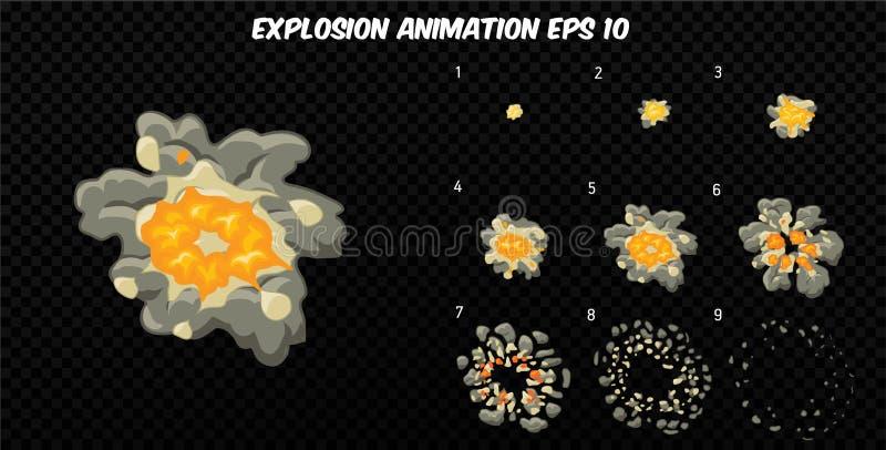 Wektor wybucha Wybucha skutek animację z dymem Kreskówka wybuchu ramy Sprite prześcieradło wybuch royalty ilustracja