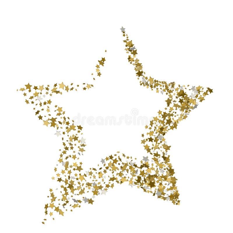 Wektor złocista boże narodzenie gwiazda odizolowywająca na białym tle royalty ilustracja