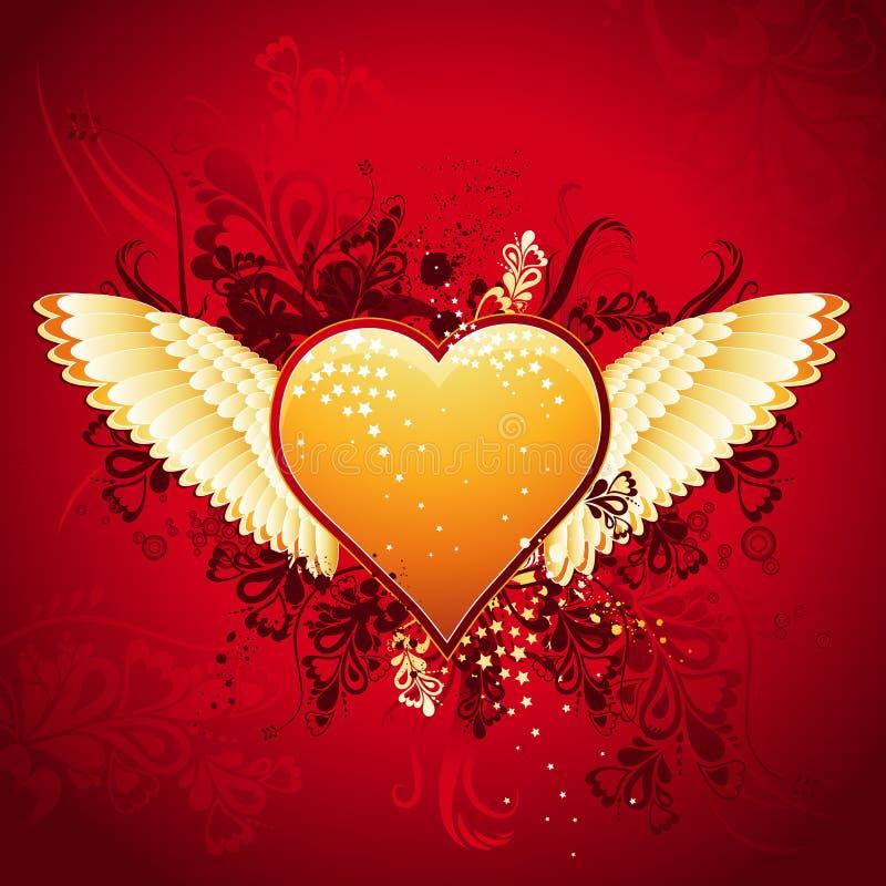 wektor złotego serca royalty ilustracja