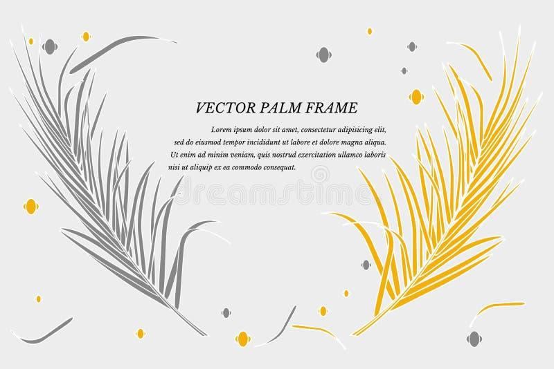 Wektor z dekoracyjną palmą opuszcza w zwrotnikach na szarym tle Jaskrawi modni złoci luksusowi kolory, miejsce dla teksta dla ilustracji