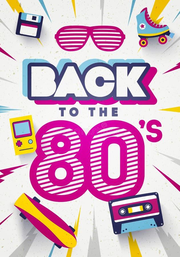 Wektor Z powrotem 80's Kolorowy Retro tło Lata osiemdziesiąte Graficzny plakat I sztandaru szablon ilustracji
