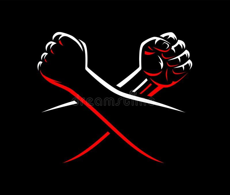 Wektor zaciskać pięści walczą MMA, zapaśnictwo, kopnięcie boks, karate sport ilustracja wektor