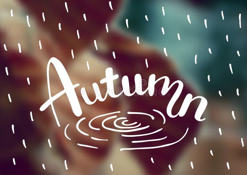 Wektor zamazywał jesieni krajobrazowego tło z typografia teksta jesienią Ręki literowania plakat royalty ilustracja