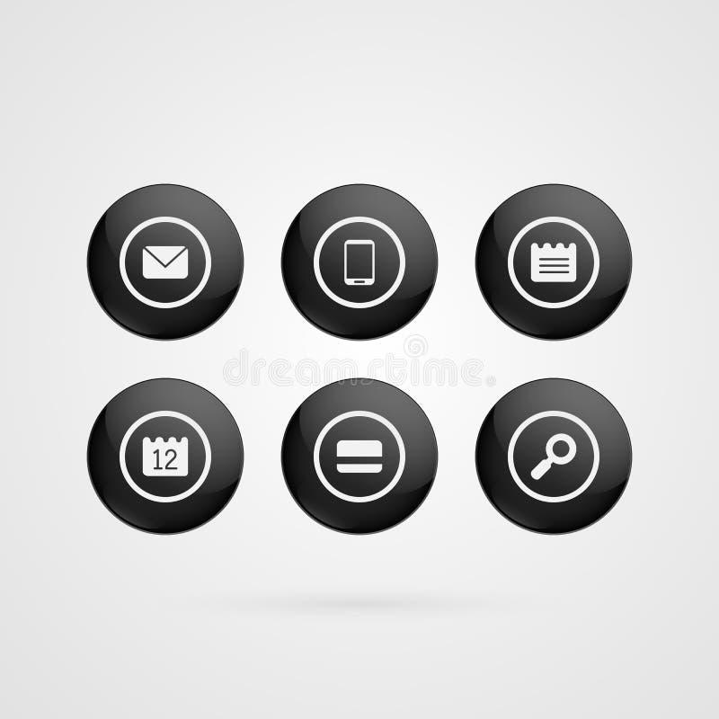 Wektor zapina symbole Czarny i biały glansowana koperta, sms, mądrze telefon, notatka, kalendarz, kredytowa karta, obiektywu okrę royalty ilustracja