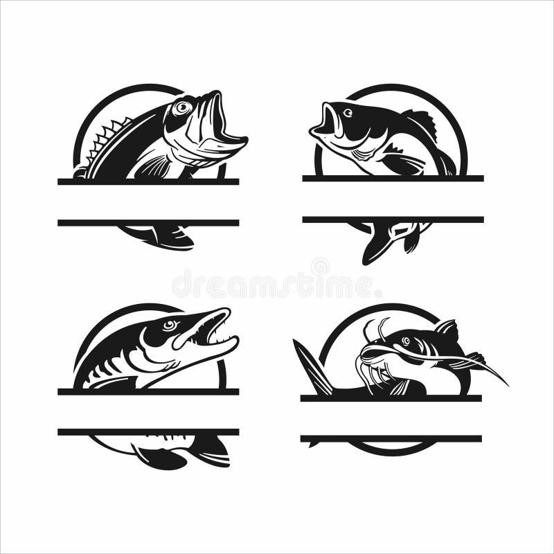 Wektor zbierania zestawów logo połowów ilustracja wektor