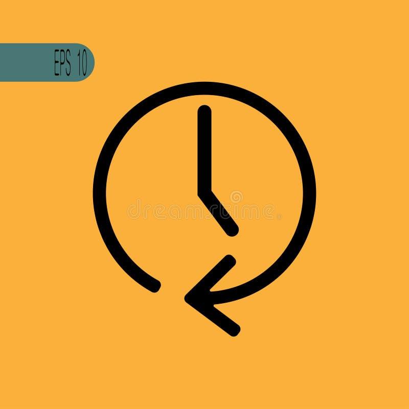 Wektor zegarowa ikona z strzałą - wektorowa ilustracja ilustracja wektor