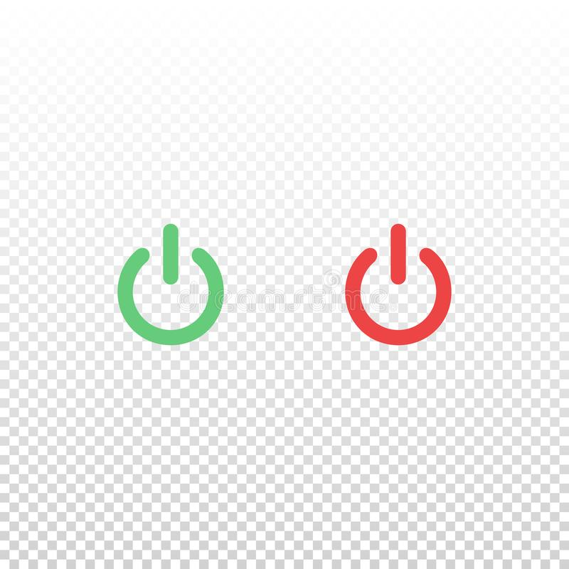 Wektor zieleń i czerwona władza guzika ikona Element dla projekta mobilnego app strony internetowej lub royalty ilustracja