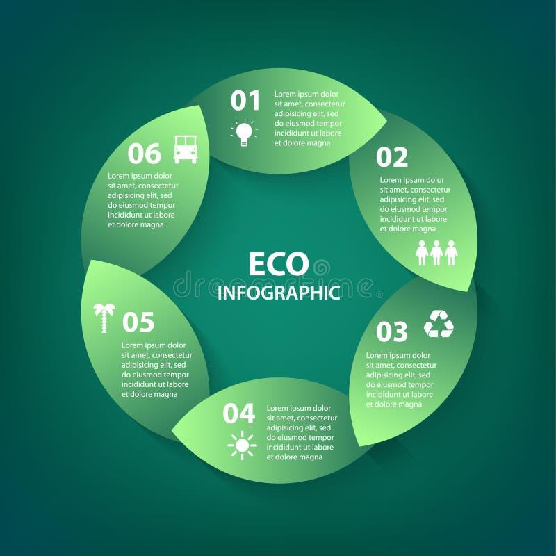 Wektor zieleni liści okręgu round szyldowy infographic Szablon dla diagrama, wykresu, prezentaci i mapy, Eco pojęcie z ilustracji