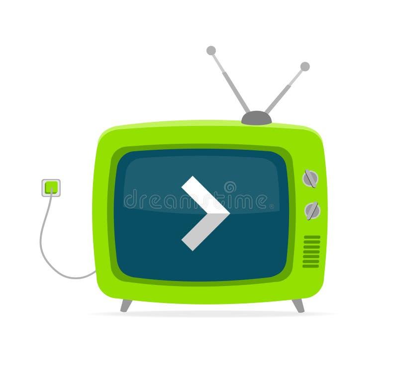 Wektor zielony retro tv z strzała, druciany Płaski projekt royalty ilustracja