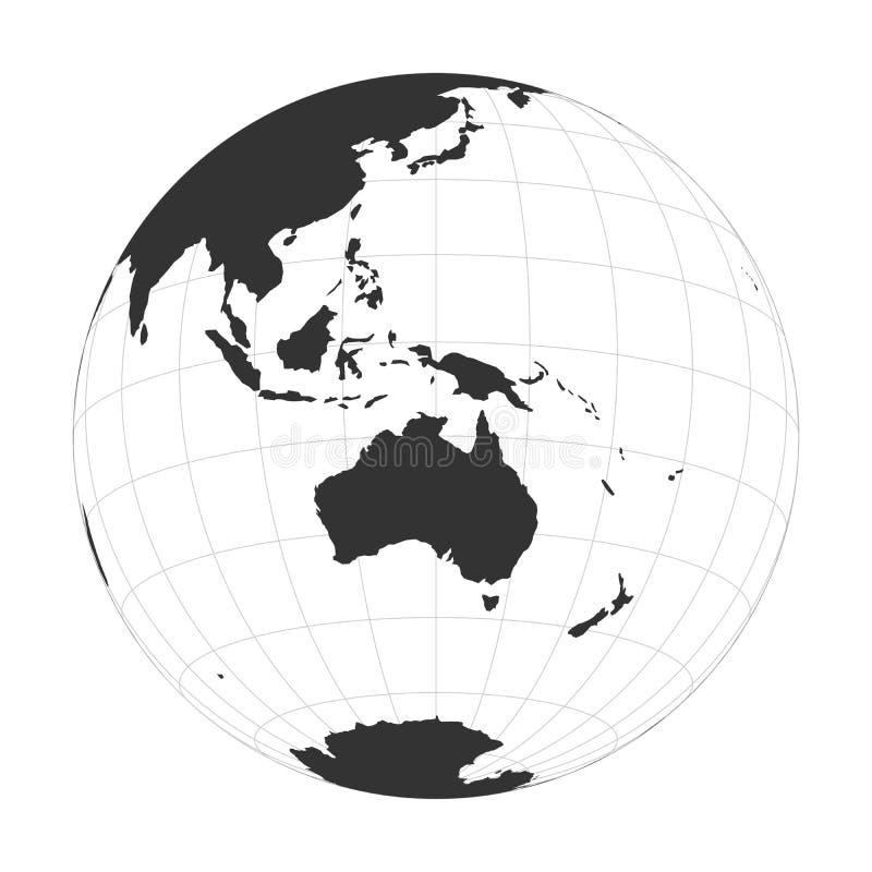 Wektor Ziemska kula ziemska skupiał się na Australia i Oceania royalty ilustracja
